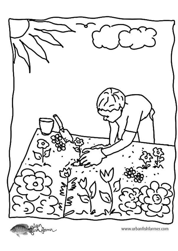 Garden coloring pictures fun for kids urban fish farmer for Garden coloring page
